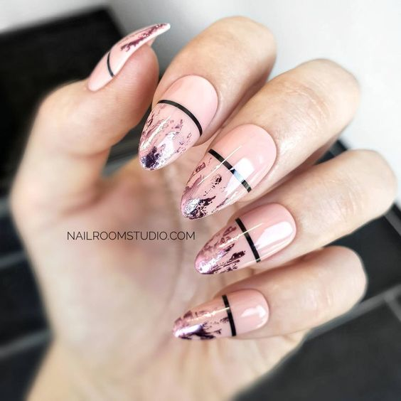nail art rose noir